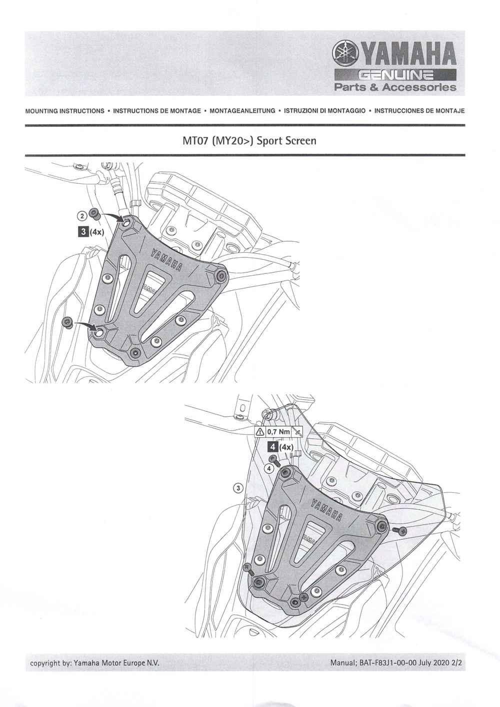 Montageanleitung Windschild MT07 2021