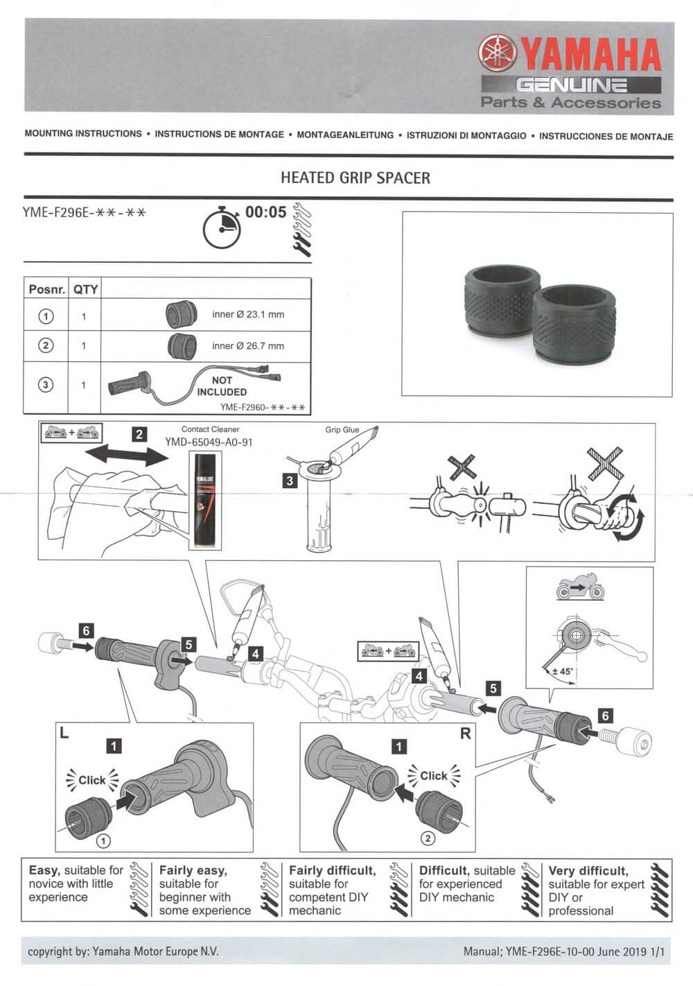 Montageamleitung Heizgriffe mit Distanzstücken für die Tenere 700