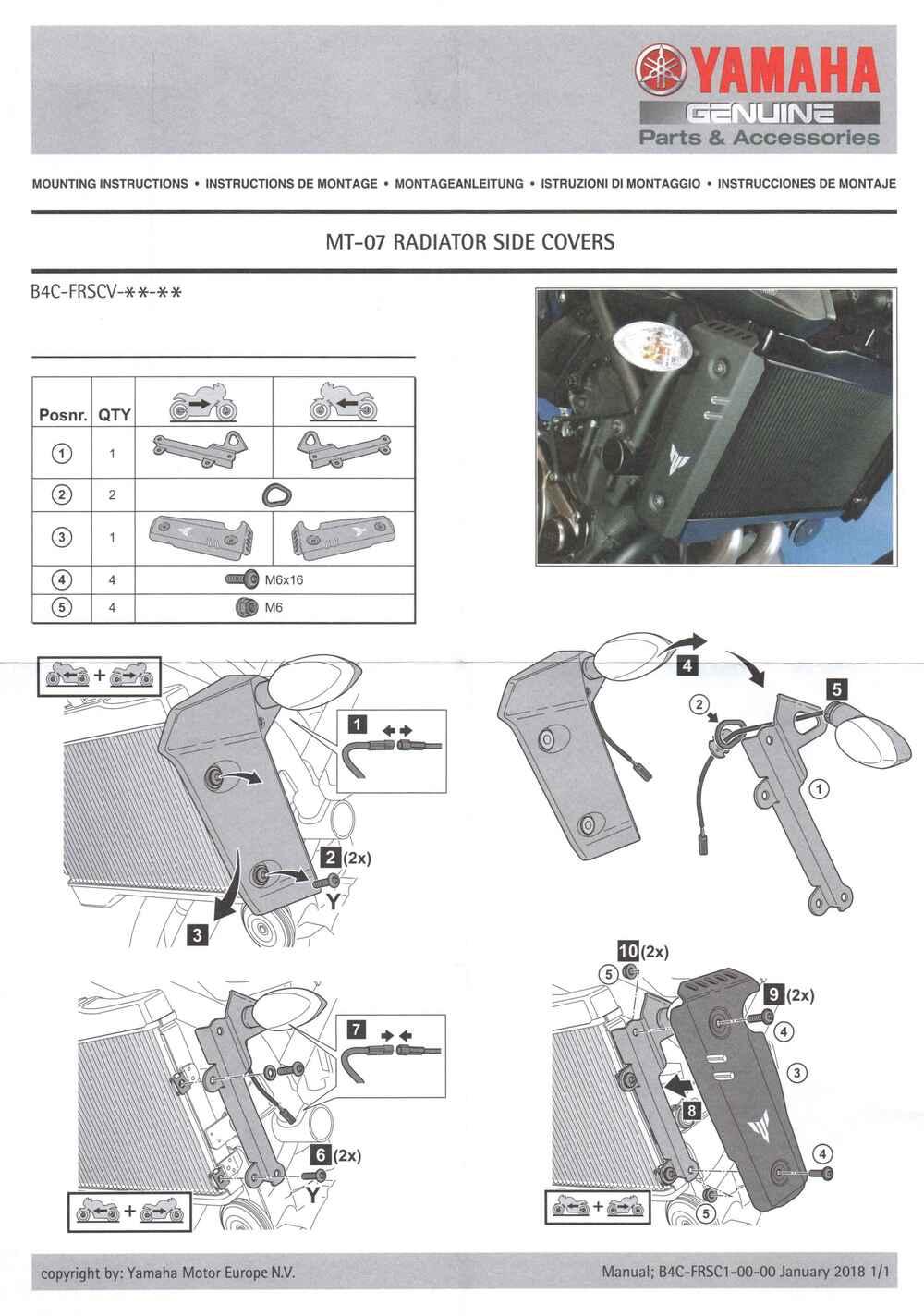 Montageanleitung Kühlerseitenabdeckungen MT 07