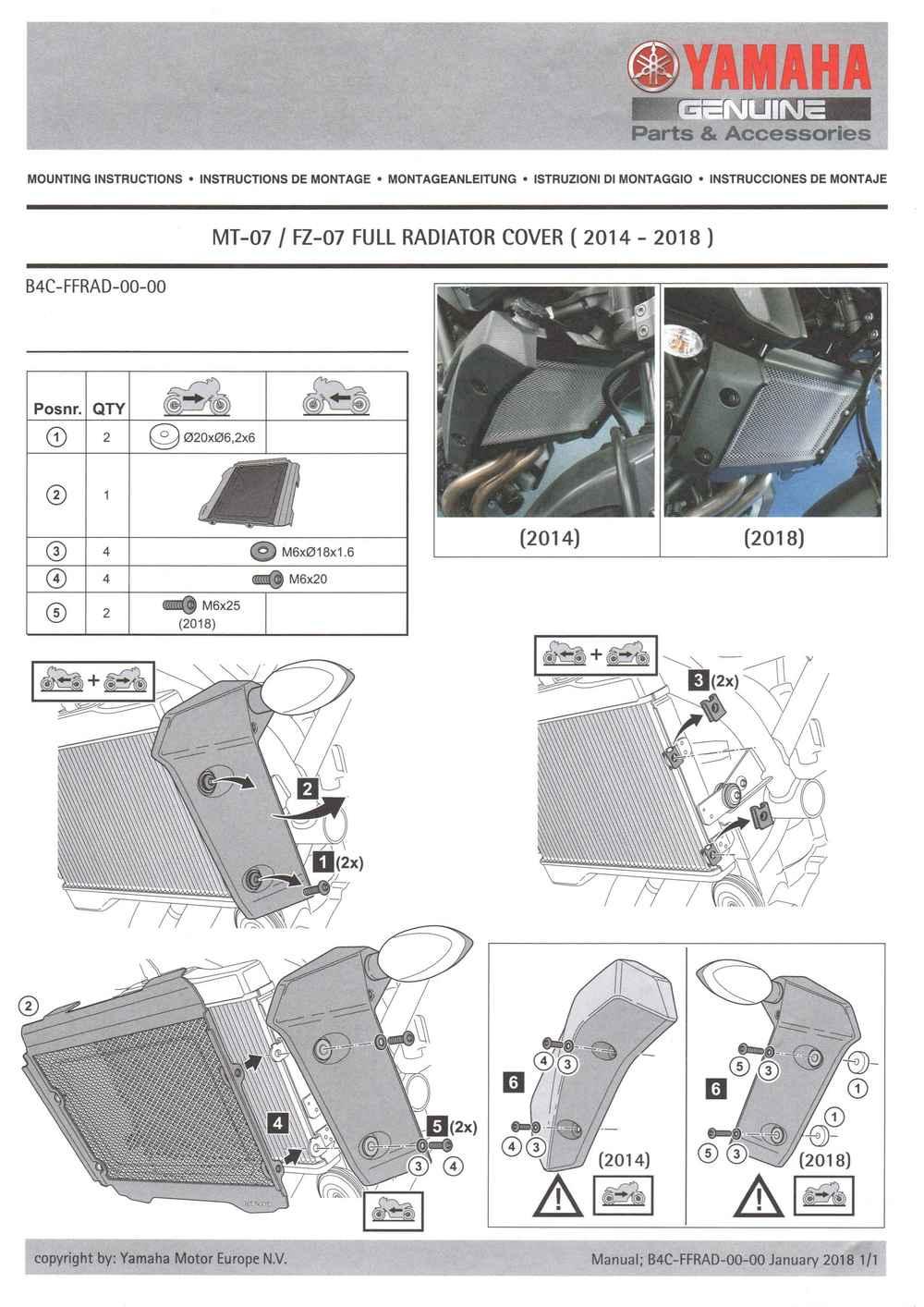 Montageanleitung Kühlerschutz MT07