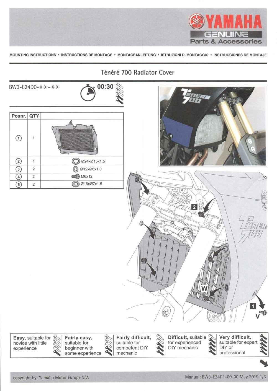 Montageanleitung Kühlerschutz Tenere 700