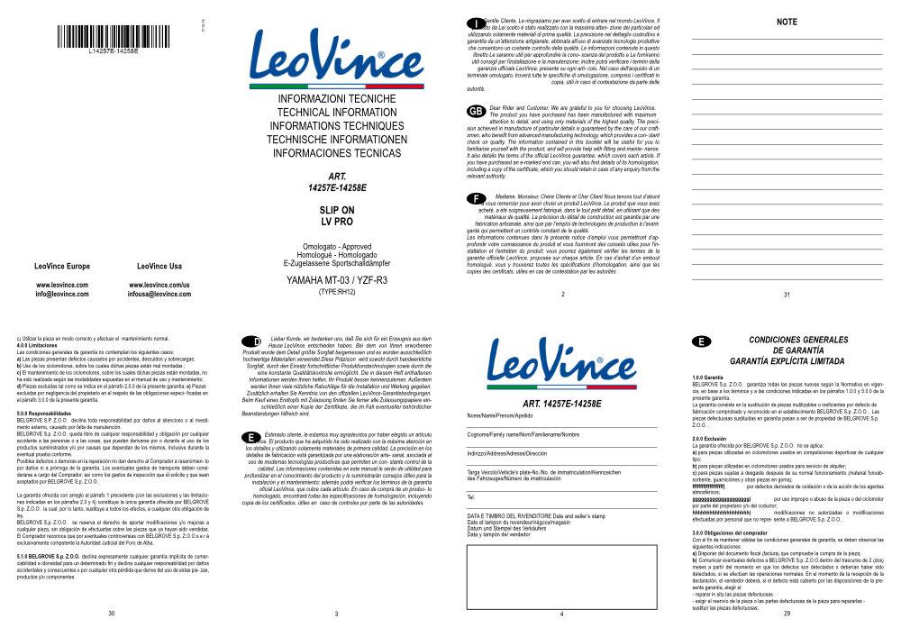 Bedienungsanleitung LeoVince LV Pro