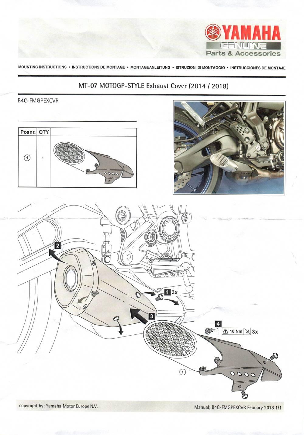 Montageanleitung Auspuffblende MT07