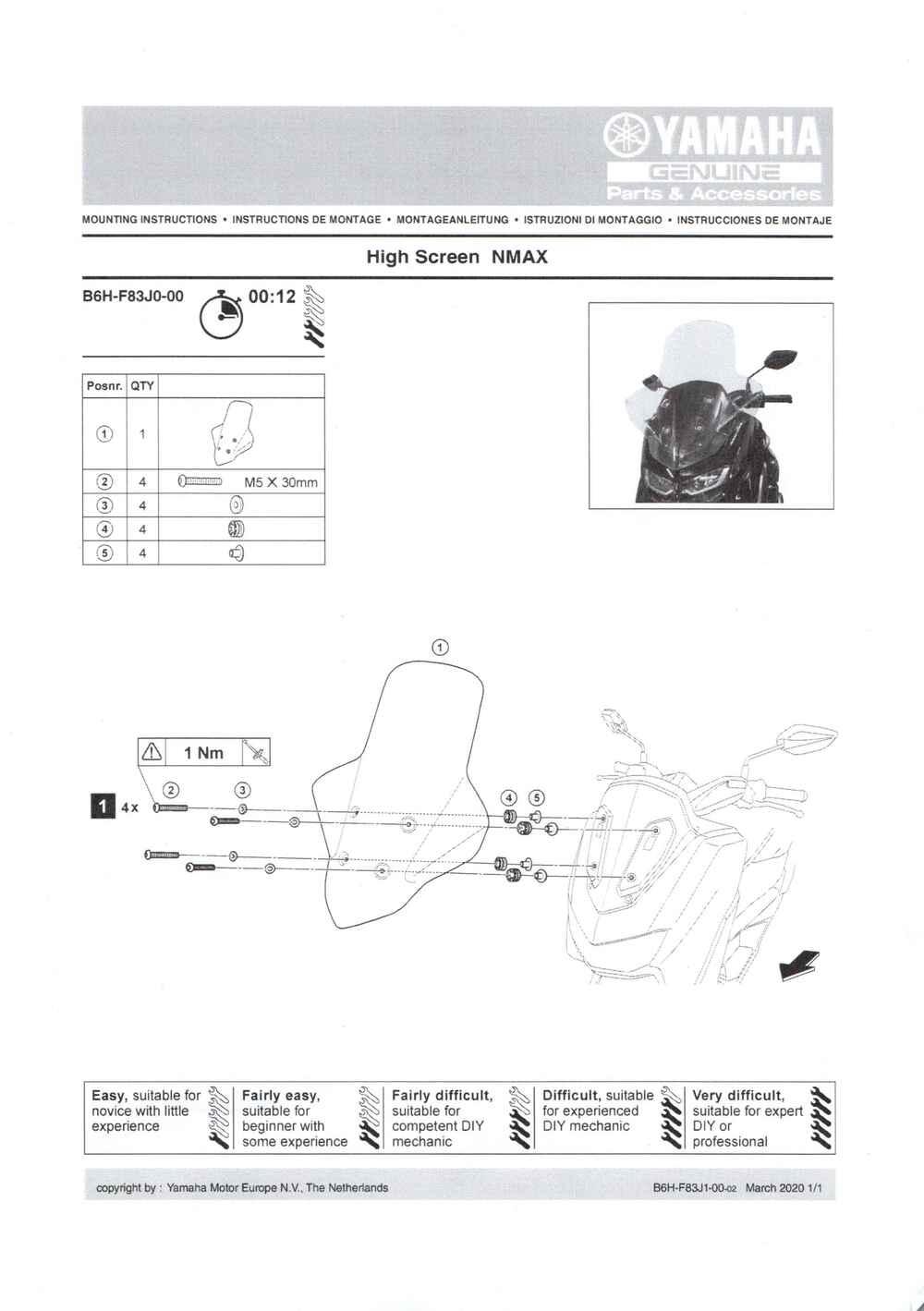 Montageanleitung Windschild klar NMAX