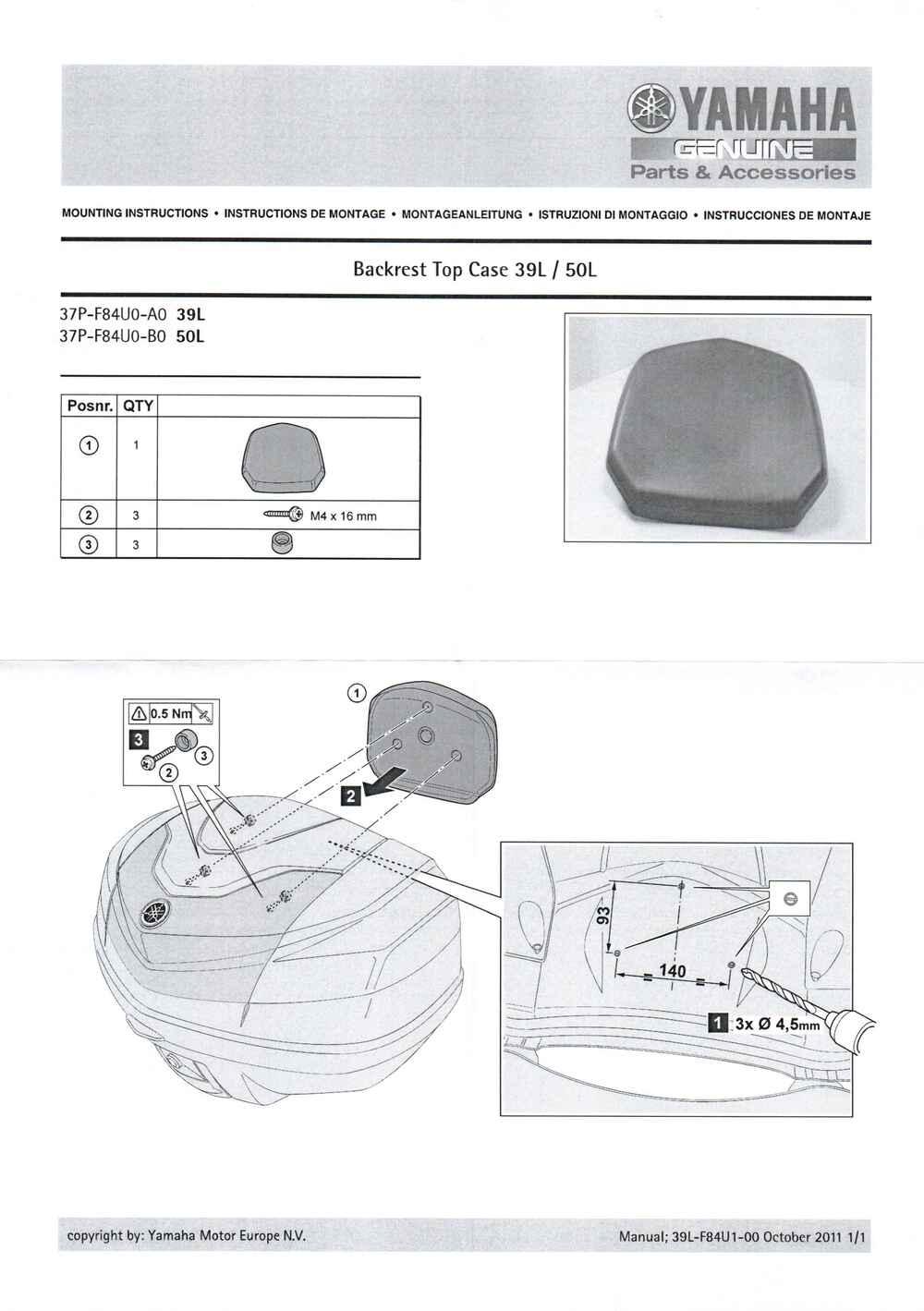 Montageanleitung Rückenlehne Top Case 39 Liter