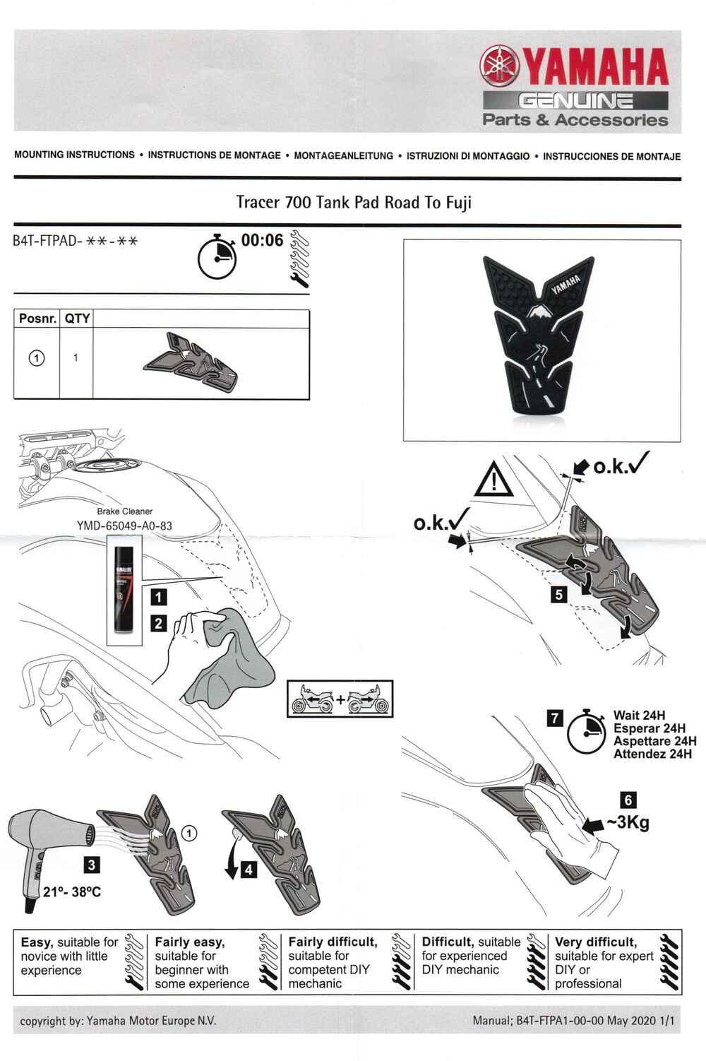 Montageanleitung Tank Pad