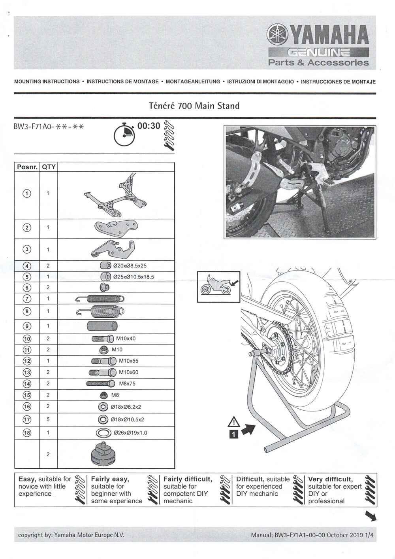 Montageanleitung Hauptständer Tenere 700