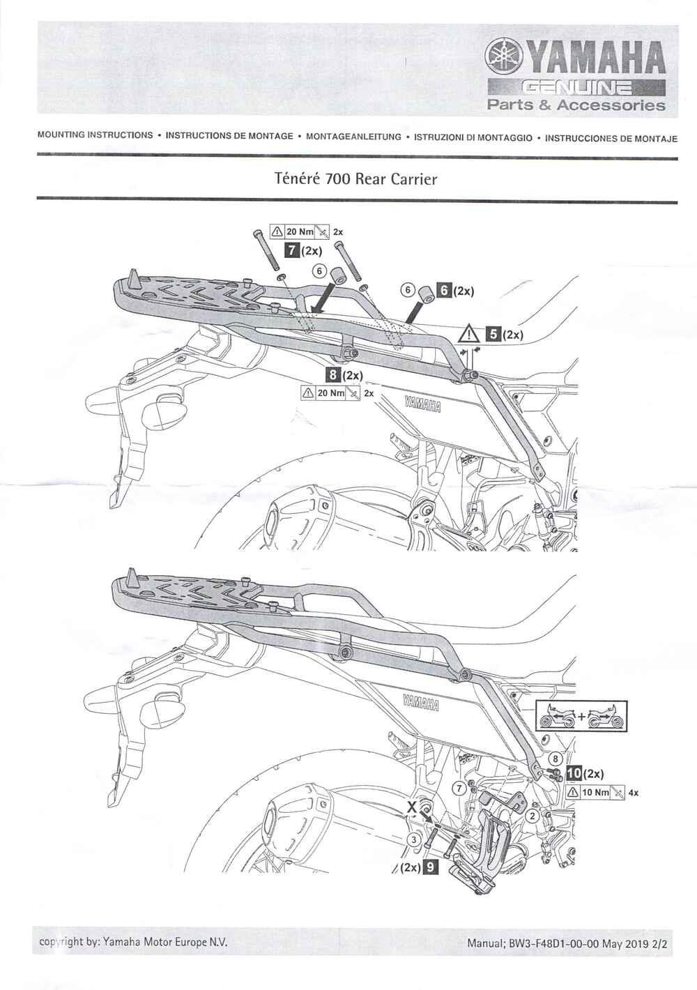 Montageanleitung Gepäckträger Tenere 700
