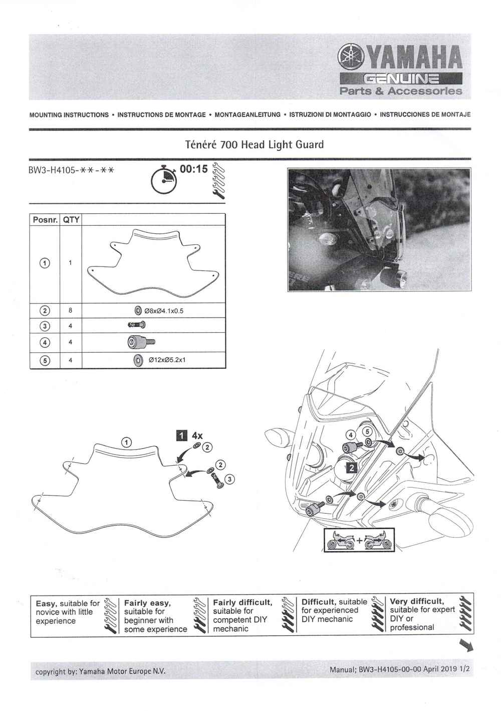 Montageanleitung Scheinwerferschutz Tenere 700