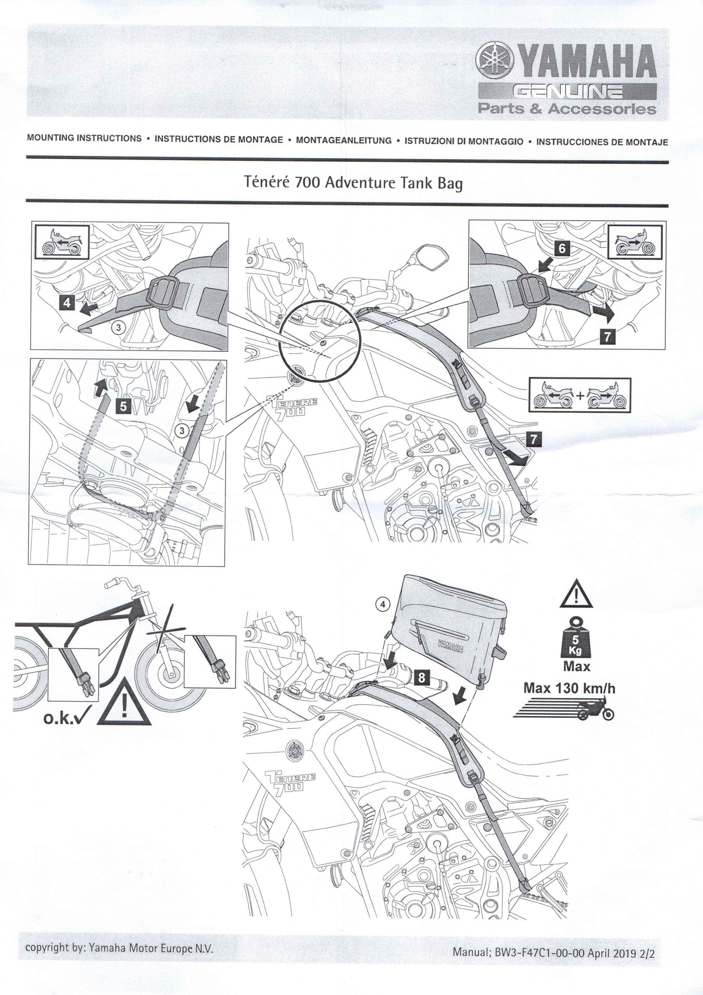 Montageanleitung Tankrucksack Tenere 7