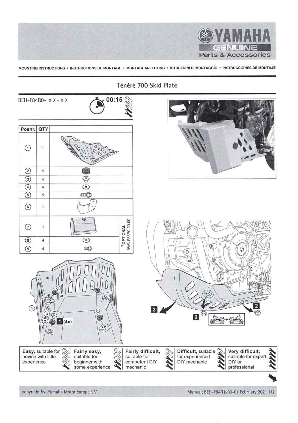 Montageanleitung Motorschutz Tenere 700 ab Euro 5