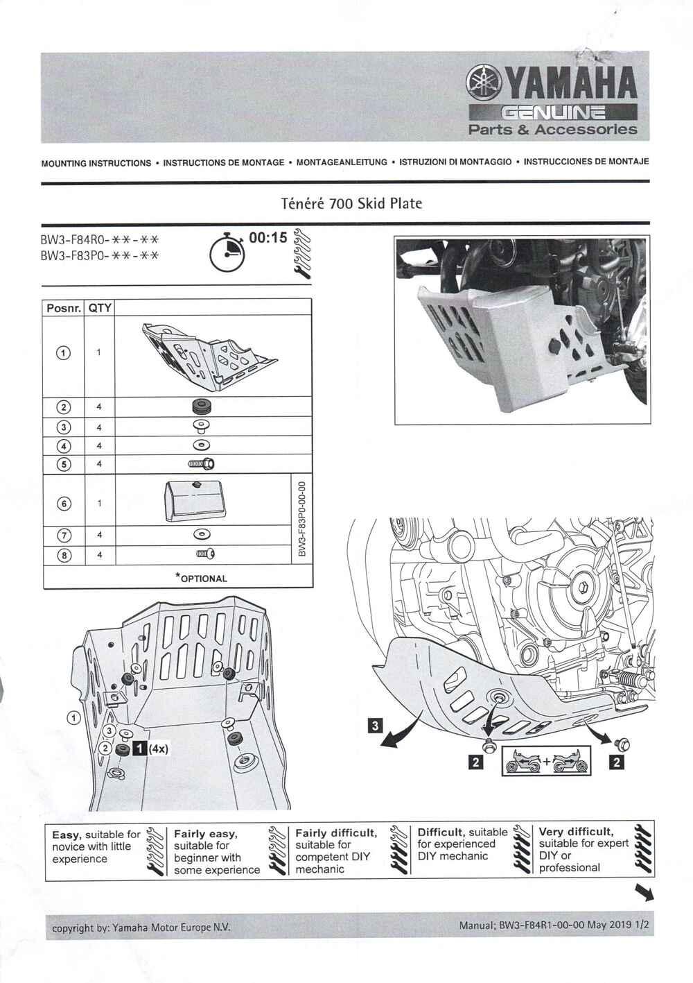 Montageanleitung Motorschutz Tenere 700